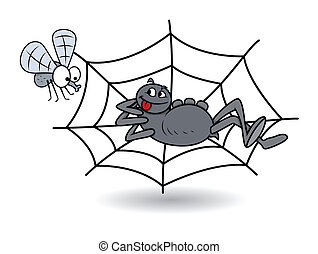 Spider with Bee Vector - Drawing Art of spider waiting on...