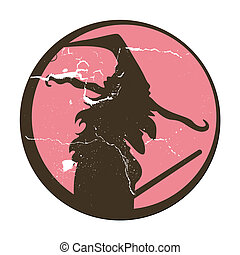 Retro Halloween Witch Silhouette