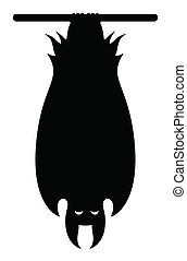 Vampire Bat Hanging Silhouette - Drawing Art of bat hanging...