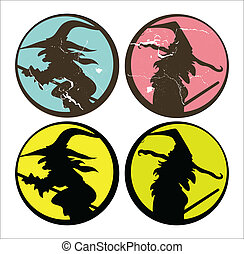 Halloween Witch Silhouettes Sticker - Drawing Art of set of...