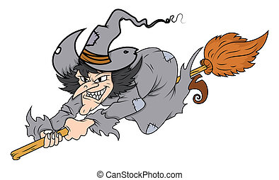 Witch Flying on Broomstick Vector - Drawing Art of cartoon...