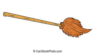 broom cartoon vector - Drawing Art of Vintage Broomstick...