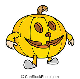 Funny Jack-o'-Lantern Character - Drawing Art of funny jack...