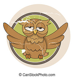 Vintage Funny Owl Bird Vector