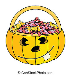 Halloween Pumpkin Candy Basket - Drawing Art of jack o...
