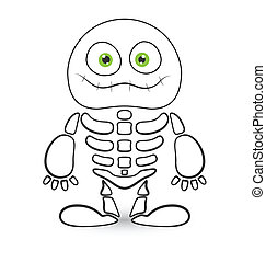 Cute Skeleton Monster Vector - Drawing Art of Cute Halloween...