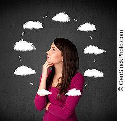 giovane, donna, pensare, nuvola, circolazione, intorno, lei,...