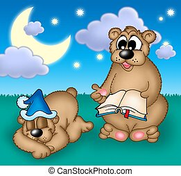 Bears family - Two bears under evening sky - color...