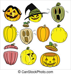 Cartoon Pumpkin and Jack o Lantern - Drawing Art of Cartoon...