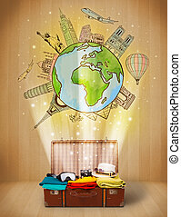 Luggage with travel around the world illustration concept on...