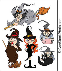 Halloween witches vector set - Drawing Art of Halloween...