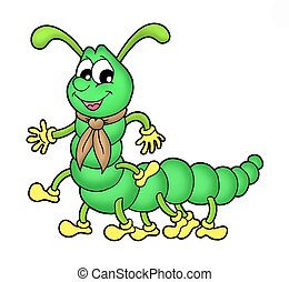 Centipede - Collor illustration of green centipede