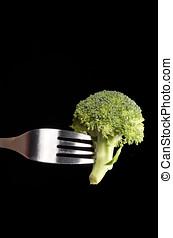 Broccoli on a fork.