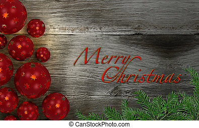 Merry Christmas - decorative christmas image with wooden...