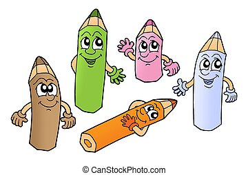 Crayons 2 - Color illustration of five color crayons on...