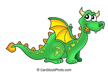 Cute dragon - Color illustration of cute green dragon
