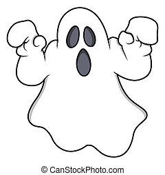 Spooky Halloween Ghost Vector - cartoon ghost - Halloween...
