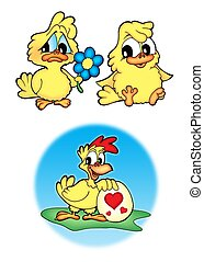 Cute chickens - Three cute chickens - color illustration