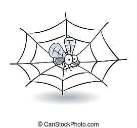 funny bee stucked in spider web