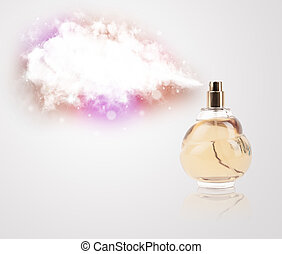 beautiful bottle spraying colorful cloud - women's perfume...
