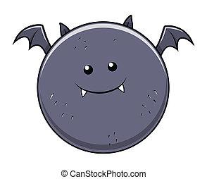 funny fat bat - Halloween vector - Drawing Art of funny fat...