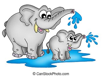 Elephants - Illustration of two elephants. One small a one...