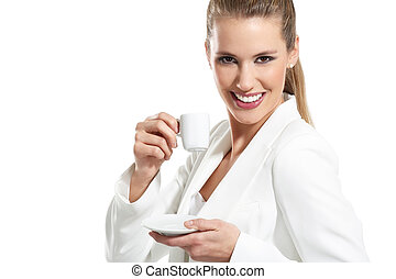 young beautiful woman drink a coffee