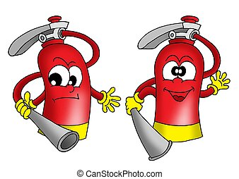 Extinguishers - Two extinguishers - color illustration.