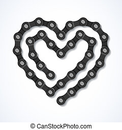 Bicycle chain heart illustration
