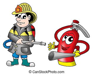 Fireman and fire extinguisher - color illustration.
