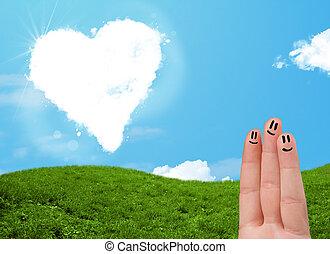 Feliz, smiley, Dedos, olhar, Coração, Dado forma, nuvem