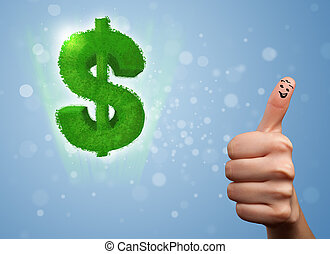 Happy smiley fingers looking at green leaf dollar sign -...