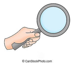 hand with magnifying glass - Color illustration of hand with...