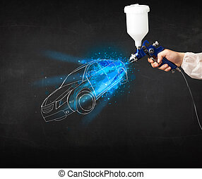 Worker with airbrush gun painting hand drawn car lines -...