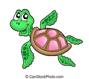 Little sea turtle pink - Little sea turtle - pink - color...
