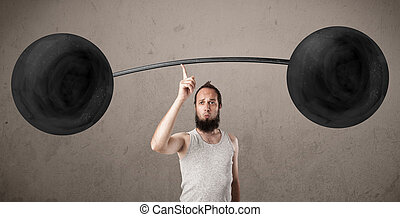 Funny skinny guy lifting weights - Funny skinny guy lifting...