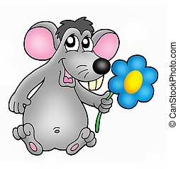 Mouse with flower - Color illustration of mouse with flower