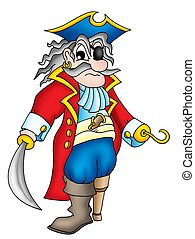 Old pirate with wooden leg - color illustration.