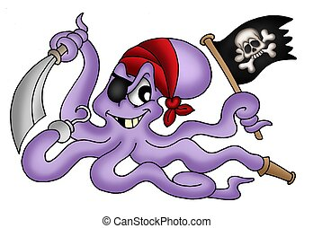Pirate octopus - Color illustration of pirate octopus
