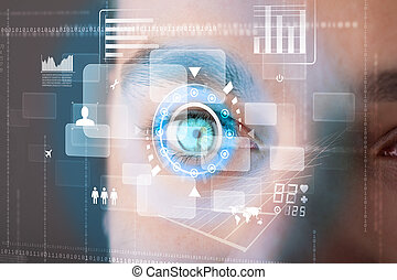 Futuristic modern cyber man with technology screen eye panel...