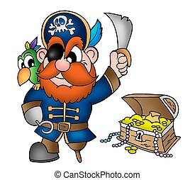 Pirate with treasure chest - color illustration.