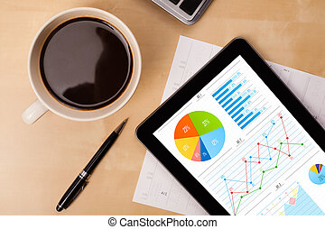 tableta, PC, exposiciones, gráficos, pantalla, taza,...