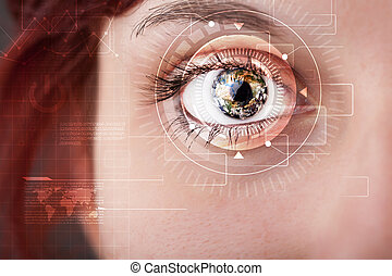Cyber girl with technolgy eye looking