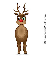 Reindeer with red nose. Vector illustration.