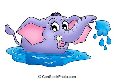 Small elephant in water - Color illustration of small...