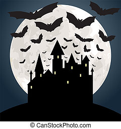 moon, castle and bats - Halloween background with moon,...