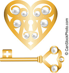 key and lock shaped heart - Background with gold skeleton...