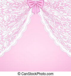 lace curtains and bow - Template for wedding, invitation or...