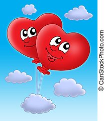 Smilling hearts balloons on blue sky - Color illustration of...
