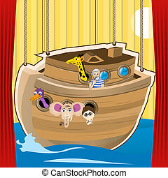 Noah ark cartoon illustration, designed as a stage for kid's...